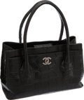 Luxury Accessories:Bags, Chanel Extremely Rare Matte Black Alligator Cerf Tote Bag withBrushed Silver Hardware. ...
