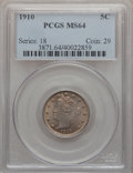 Liberty Nickels: , 1910 5C MS64 PCGS. PCGS Population (229/90). NGC Census: (194/83).Mintage: 30,169,352. Numismedia Wsl. Price for problem f...
