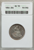 Seated Quarters: , 1856 25C AU50 ANACS. NGC Census: (3/154). PCGS Population (15/172).Mintage: 7,264,000. Numismedia Wsl. Price for problem f...