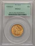 Liberty Half Eagles: , 1906-D $5 MS62 PCGS. PCGS Population (605/860). NGC Census:(850/989). Mintage: 320,000. Numismedia Wsl. Price for problem ...