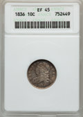 Bust Dimes: , 1836 10C XF45 ANACS. NGC Census: (6/176). PCGS Population (16/166).Mintage: 1,190,000. Numismedia Wsl. Price for problem f...