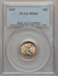 Barber Dimes: , 1907 10C MS65 PCGS. PCGS Population (42/13). NGC Census: (43/42).Mintage: 22,220,576. Numismedia Wsl. Price for problem fr...
