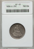 Seated Quarters: , 1858-O 25C XF45 ANACS. NGC Census: (4/30). PCGS Population (9/34).Mintage: 520,000. Numismedia Wsl. Price for problem free...