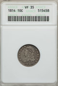 Bust Dimes, 1814 10C STATESOFAMERICA VF35 ANACS. JR-5, R.3. PCGS Population(0/5). (#4490). From The Grand Canyo...