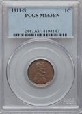 Lincoln Cents: , 1911-S 1C MS63 Brown PCGS. PCGS Population (90/74). NGC Census:(104/132). Mintage: 4,026,000. Numismedia Wsl. Price for pr...