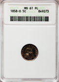 Seated Half Dimes, 1858-O H10C MS61 Prooflike ANACS. NGC Census: (9/174). PCGSPopulation (6/138). Mintage: 1,660,000. Numismedia Wsl. Price f...