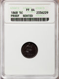 Proof Seated Half Dimes: , 1868 H10C PR64 ANACS. NGC Census: (57/42). PCGS Population (47/32).Mintage: 600. Numismedia Wsl. Price for problem free NG...
