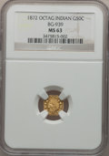 California Fractional Gold: , 1872 50C Indian Octagonal 50 Cents, BG-939, Low R.5, MS63 NGC. NGCCensus: (1/1). PCGS Population (13/17). (#10797)...
