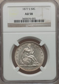 Seated Half Dollars: , 1877-S 50C AU58 NGC. NGC Census: (55/295). PCGS Population(55/283). Mintage: 5,356,000. Numismedia Wsl. Price for problem ...