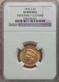 Three Dollar Gold Pieces: , 1856-S $3 -- Improperly Cleaned -- NGC Details. XF Details. NGCCensus: (41/383). PCGS Population (56/220). Mintage: 34,500...