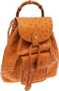 Luxury Accessories:Bags, Gucci Tan Ostrich Mini Drawstring Backpack with Bamboo Handle. ...