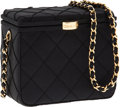 Luxury Accessories:Bags, Chanel Black Satin Diagonal Stitch Evening Bag with Gold Hardware....