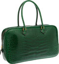 Luxury Accessories:Bags, Hermes Shiny Vert Emerald Alligator Plume Elan Bag with GoldHardware. ...