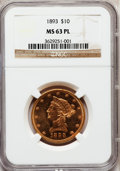 Liberty Eagles, 1893 $10 MS63 Prooflike NGC....