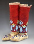 American Indian Art:Beadwork and Quillwork, A PAIR OF NEZ PERCE BEADED HIDE MOCCASINS AND BEADED CLOTHLEGGINGS. c. 1910...