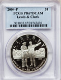 Modern Issues, 2004-P $1 Lewis and Clark Silver Dollar PR67 Deep Cameo PCGS. PCGSPopulation (21/5306). NGC Census: (3/5263). Numismedia ...