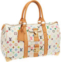 Luxury Accessories:Travel/Trunks, Louis Vuitton White Monogram Multicolor Keepall 45 Weekender Bag....