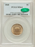 Shield Nickels: , 1868 5C MS64 PCGS. CAC. PCGS Population (236/97). NGC Census:(252/161). Mintage: 28,800,000. Numismedia Wsl. Price for pro...