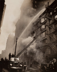 WEEGEE (American, 1899-1968) Group of Eight Firefighter Photographs, circa 1940-45 Gelatin silver