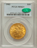 Liberty Eagles: , 1903 $10 MS63+ PCGS. CAC. PCGS Population (135/48). NGC Census: (134/54). Mintage: 125,800. Numismedia Wsl. Price for probl...
