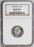 Italy: , Italy: Kingdom. Umberto I Lire 1886R, KM24.1, MS65 Deep MirrorProoflike NGC. A spectacular coin with near-flawless surfaces andca...