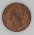 Liberia: , Liberia: Republic Pattern Cent 1866 - Pair, KM-Pn11, both areglossy brown Proof.... (Total: 2 coins Item)