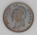 Liberia: , Liberia: Republic - Three Copper 2 Cent Patterns 1890-E, KM-Pn52,reverse with shield and wreath, choice lustrous Proof, KM-Pn53,TWO... (Total: 3 coins Item)