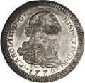 Mexico: , Mexico: Carlos III 2 Reales Die Trial 1770, uniface striking of aprojected obverse for Spanish and colonial bust 2 Reales (or 2Esc...
