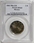 Mexico: , Mexico: Republic 2 Reales 1861-Mo-CH, KM374.10, MS66 PCGS, aspectacular coin with prooflike fields and deep, multi-hued patinarang...
