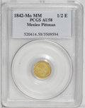 Mexico: , Mexico: Republic gold 1/2 Escudo 1842-Mo-MM, KM378.5, AU58 PCGS,lightly toned, bold legends, repunched 4 in the date....