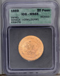 Mexico: , Mexico: Doubled Die Reverse 20 Pesos 1959, listed as Coneca VCR #1, DDR # 1, MS65 ICG, this piece has obvious reverse doubling ont...