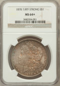 Morgan Dollars: , 1878 7/8TF $1 Strong MS64+ NGC. NGC Census: (1000/93). PCGSPopulation (1399/223). Mintage: 544,000. Numismedia Wsl. Price ...
