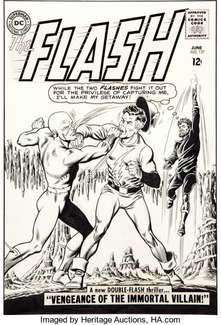 Carmine Infantino and Murphy Anderson The Flash #137 Earth-1/Earth-2 Crossover Cover Original Art (DC, 1963)....