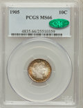 Barber Dimes, 1905 10C MS66 PCGS. CAC....