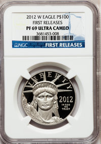 2012-W $100 One-Ounce Platinum Eagle, First Releases PR69 Ultra Cameo NGC. NGC Census: (18/97). PCGS Population (570/80)...