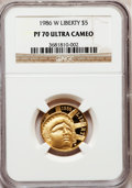 Modern Issues: , 1986-W G$5 Statue of Liberty Gold Five Dollar PR70 Ultra Cameo NGC.NGC Census: (3506). PCGS Population (606). Mintage: 404...