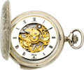 Timepieces:Pocket (post 1900), Berney Sterling Silver New/Old Stock Quarter Hour Repeater. ...