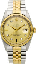 Timepieces:Wristwatch, Rolex Ref. 1601 Two Tone Diamond Dial, circa 1960. ...
