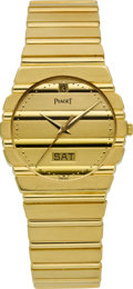 Timepieces:Wristwatch, Piaget Gent's Polo Day-Date Gold Wristwatch. ...
