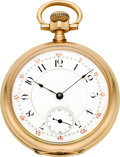 Timepieces:Pocket (pre 1900) , Waltham Gold 19 Jewel American Watch Co. Grade Model 88, circa1890. ...