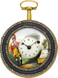 Timepieces:Pocket (pre 1900) , Mermillon Geneve Fancy Dial Gilt & Enamel Verge Fusee, circa1770's. ...