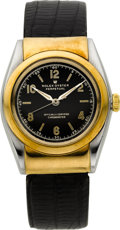 Timepieces:Wristwatch, Rolex Ref. 3065 Steel & Gold Hooded Bubble Back, circa 1940....