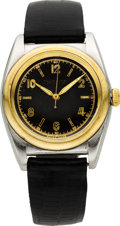 Timepieces:Wristwatch, Rolex Ref. 6050 Steel & Gold Bubble Back, circa 1948. ...