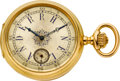Timepieces:Pocket (pre 1900) , J. Dauer Geneve High Grade Gold & Enamel Watch, Unusual Dial, circa 1880's. ...