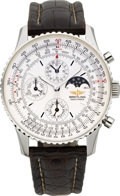 Timepieces:Wristwatch, Breitling A19340 Automatic Etanche Chronograph With Moon Phase & Calendar. ...