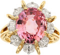 Estate Jewelry:Rings, Padparadscha Sapphire, Diamond, Platinum, Gold Ring, Oscar Heyman Bros.. ...
