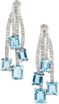 Estate Jewelry:Earrings, Aquamarine, Diamond, White Gold Earrings. ...
