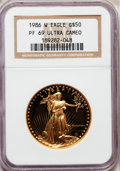 Modern Bullion Coins: , 1986-W G$50 One-Ounce Gold Eagle PR69 Ultra Cameo NGC. NGC Census:(8686/1104). PCGS Population (12706/259). Mintage: 446,2...