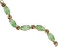 Estate Jewelry:Bracelets, Arts & Crafts Carved Jadeite Jade, Gold Bracelet. ...