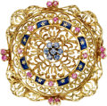 Estate Jewelry:Brooches - Pins, Ruby, Sapphire, Enamel, Gold Brooch. ...